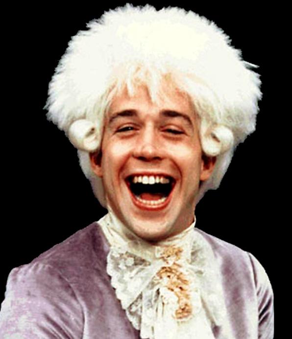 Mozart vo Formanovom Amadeovi.